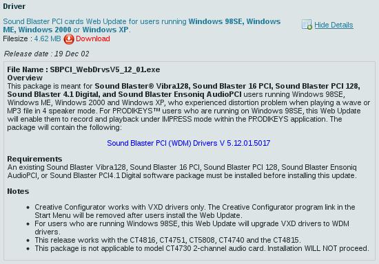 128 wdm pci creative sound driver blaster