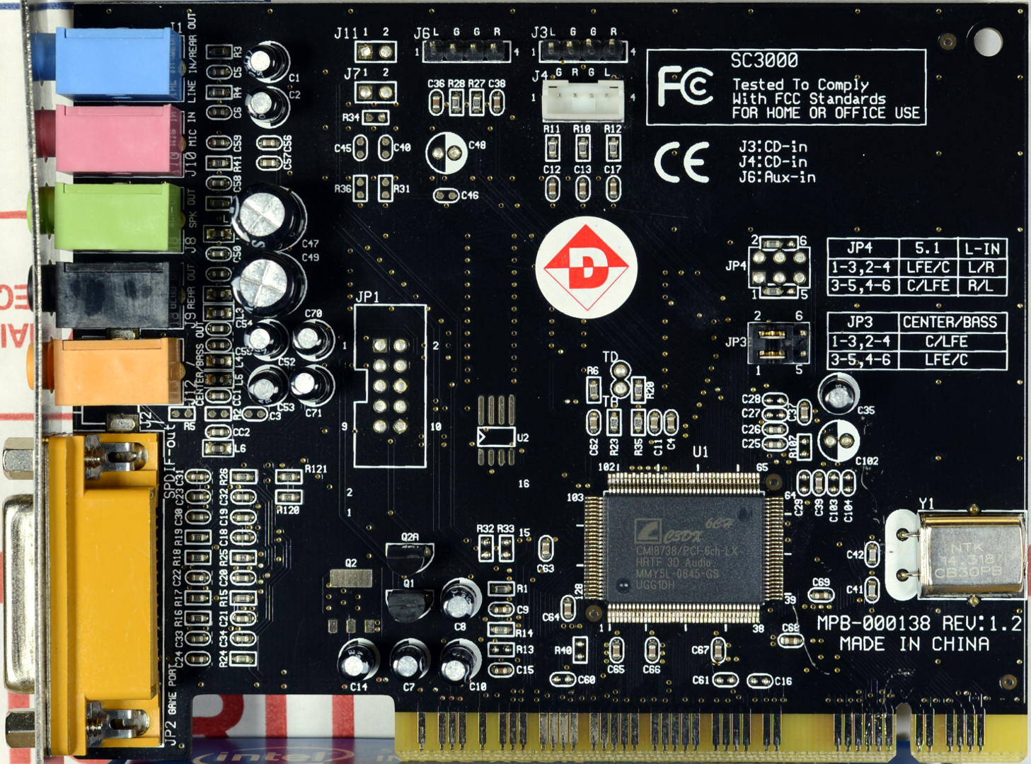 Pci Audio Notes Sound Card 4 Channel With Game Port The Cmi8738 Presents As A High End Chip Support For Both 441 And 48 Khz Sample Rates Which Is Enigmatic Given That 14318 Mhz Clock Source